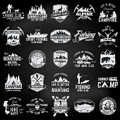 Set of extreme adventure badges. Concept for shirt or symbol, print, stamp or tee