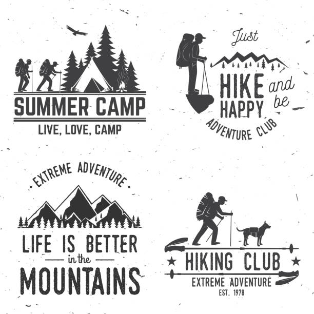Set of extreme adventure badges. Mountains related typographic quote. Set of extreme adventure badges. Mountains related typographic quote. Vector. Concept for shirt or logo, print, stamp or tee. Vintage typography design with hikers, camping tent and forest silhouette. hiking stock illustrations