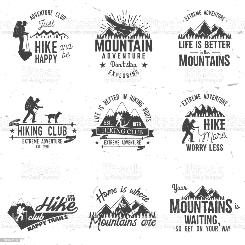 Set of extreme adventure badges vector art illustration