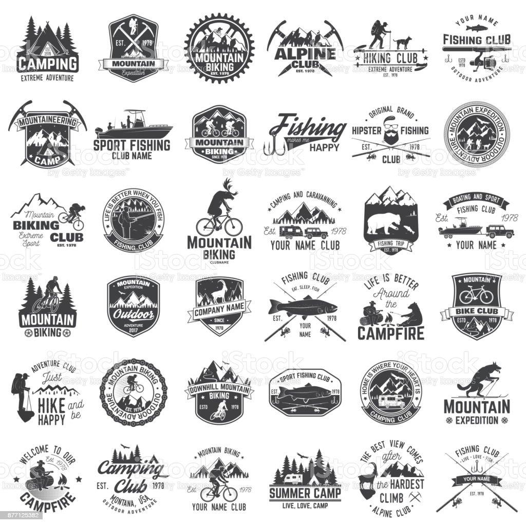 Conjunto de emblemas de aventura extrema. - ilustração de arte em vetor