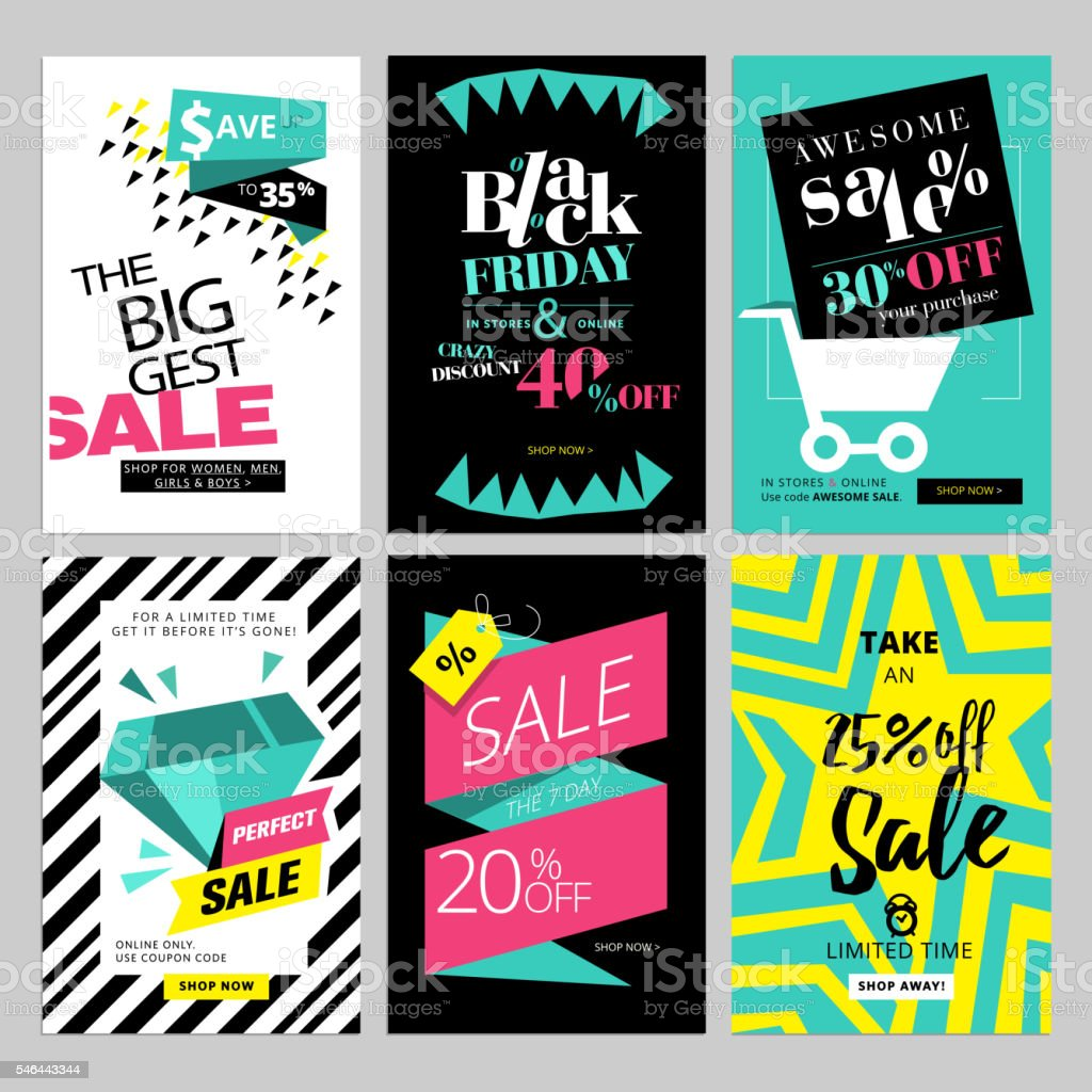 Set of eye catching web banners for shopping vector art illustration