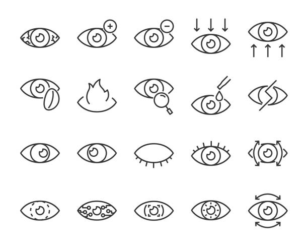 eine gruppe von augensymbole, z. b. pipette, sensitive, blind, augapfel, auge problem, objektiv - illustration optician stock-grafiken, -clipart, -cartoons und -symbole