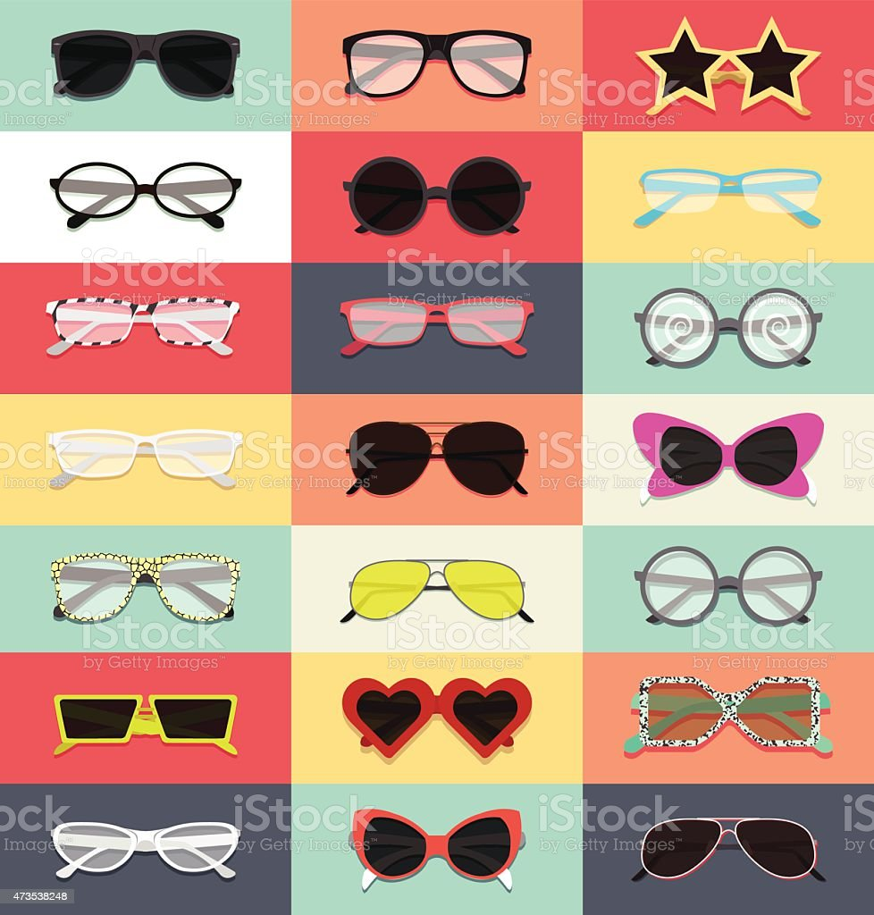 set of eyeglasses vector art illustration