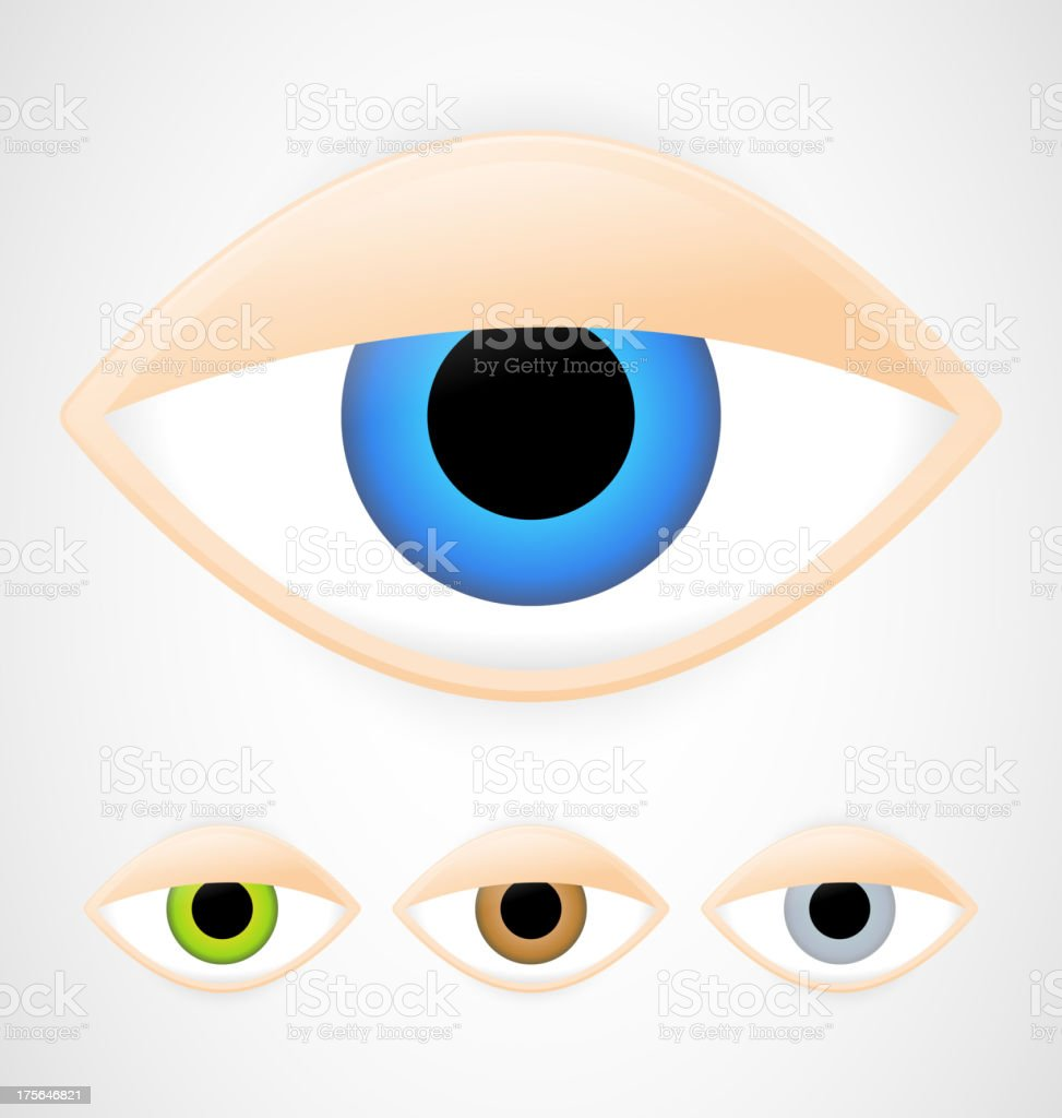 Set of eyes vector art illustration