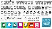 set of fabric care or washing symbols or laundry symbols