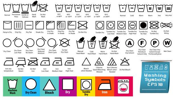 set of fabric care or washing symbols or laundry symbols set of fabric care or washing symbols or laundry symbols. easy to modify wet clothing women t shirt stock illustrations