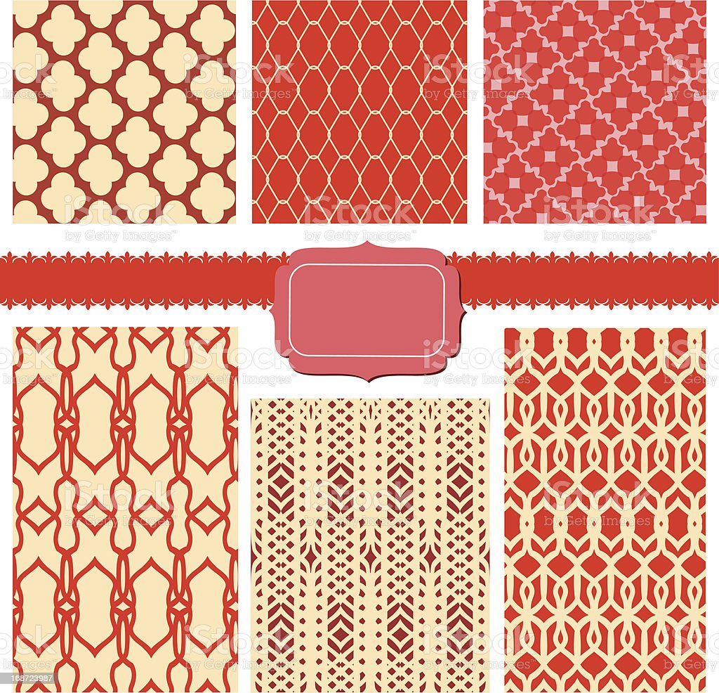 set of fabric textures with different lattices - seamless patterns royalty-free stock vector art