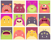 Collection of faces avatars with cute monsters. Vector icons set in flat style. EPS8