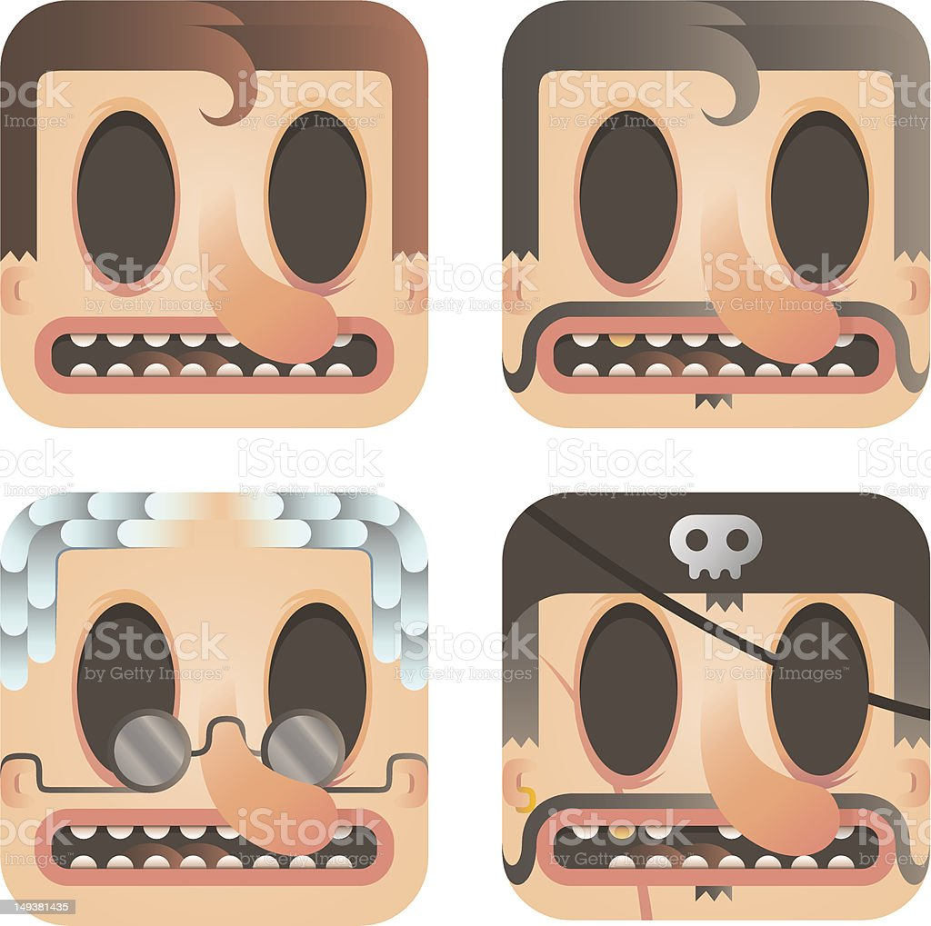set of faces vector art illustration