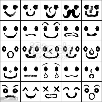 Set of faces with various emotions. hand drawn illustrations.