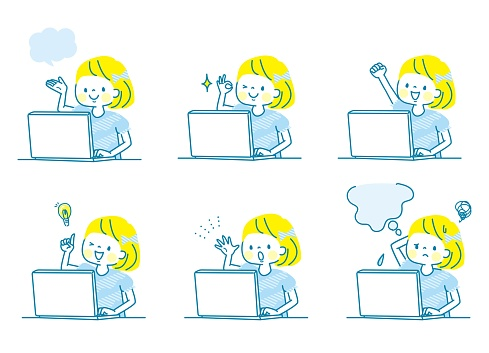 A set of facial expressions of a girl studying with a computer