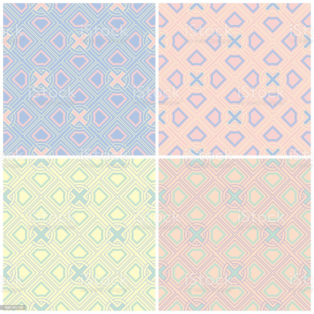 Set of faded colored seamless backgrounds with geometric patterns - arte vettoriale royalty-free di Astratto