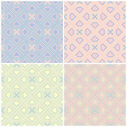 Set Van Verschoten Gekleurde Naadloze Achtergrond Met Geometrische Patronen Stockvectorkunst en meer beelden van Abstract