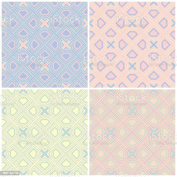 Festlegen Des Verblichenen Farbige Nahtlose Hintergründe Mit Geometrischen Mustern Stock Vektor Art und mehr Bilder von Abstrakt