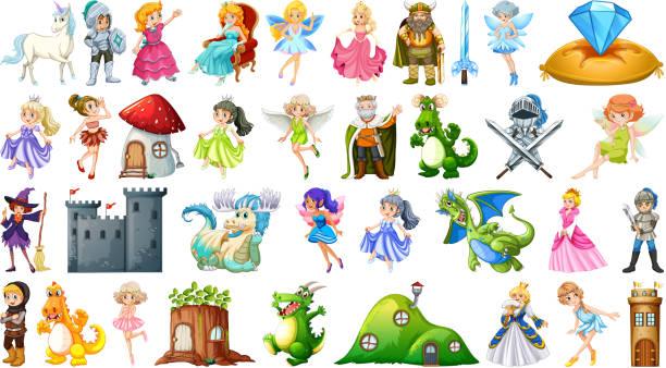 illustrazioni stock, clip art, cartoni animati e icone di tendenza di set di personaggi fiabesche - principessa