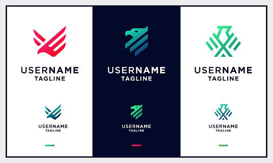 set of Falcon, hawk, eagle strong monogram logo