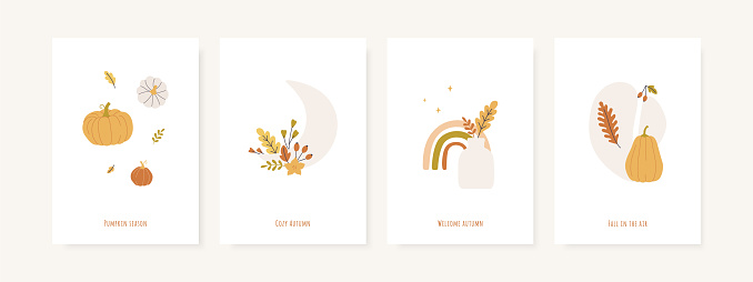 Set of fall season greeting cards and poster templates. Autumn minimal wall art. Pumpkins, leaves, foliage, vases and abstract shapes. Vector postcards collection.