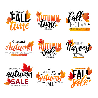 Set of fall text compositions isolated on white.