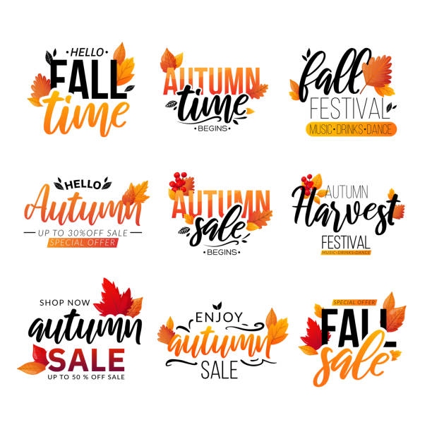 Set of fall text compositions isolated on white. Autumn sale ad promotional lettering decorated with leaves. fall stock illustrations