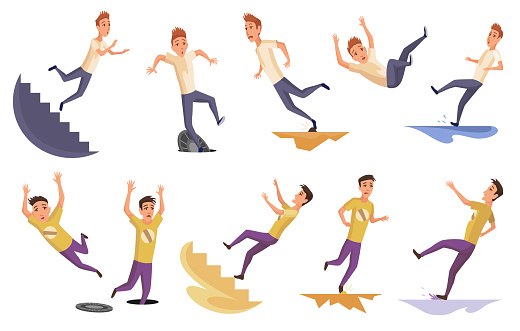 Set of falling man. Falling down people because of stumbling, slipping, accident, injury. Young men dangerous accidents. Bad luck, misfortune, fiasco. Business failure, company crash concept