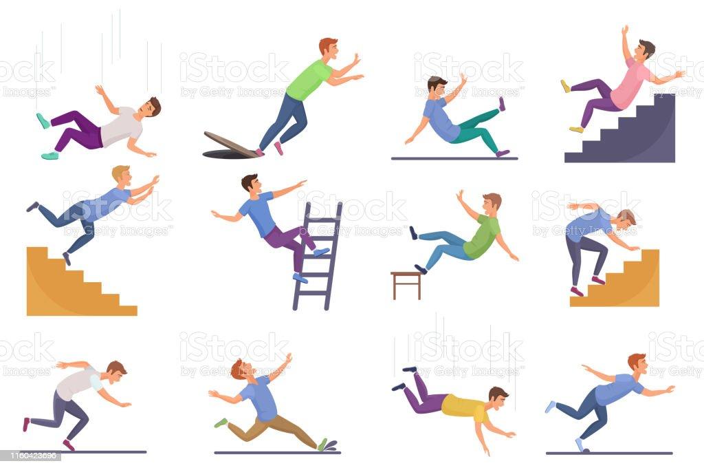 Reeks van dalende geïsoleerdee mens. Vallen van stoel ongeval, vallen naar beneden trappen, uitglijden, struikelen vallende man vector illustratie. - Royalty-free Afdalen vectorkunst