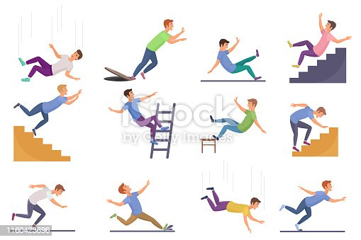 Set of falling man isolated. Falling from chair accident, falling down stairs, slipping, stumbling falling man vector illustration