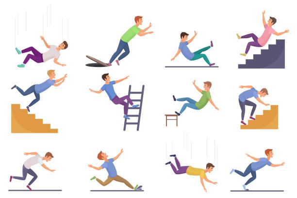 bildbanksillustrationer, clip art samt tecknat material och ikoner med uppsättning av fallande man isolerade. faller från stolen olycka, faller ner trappor, halka, snubbeande fallande man vektor illustration. - falla