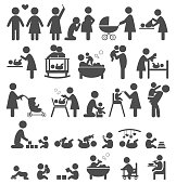 Set of family and baby pictograms flat icons isolated on white background