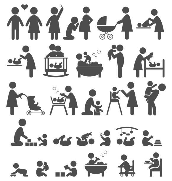 zestaw ikon rodziny i dziecka na białym tle piktogramy - maluch stock illustrations