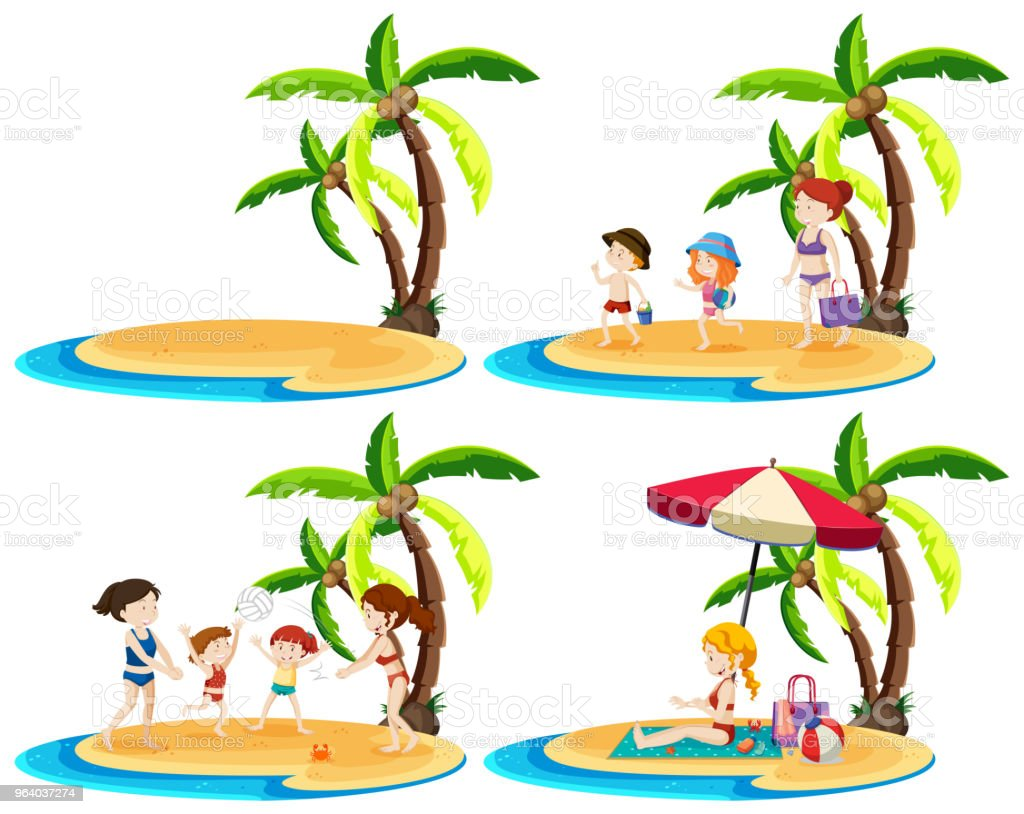 A Set of Family at Island - Royalty-free Adult stock vector