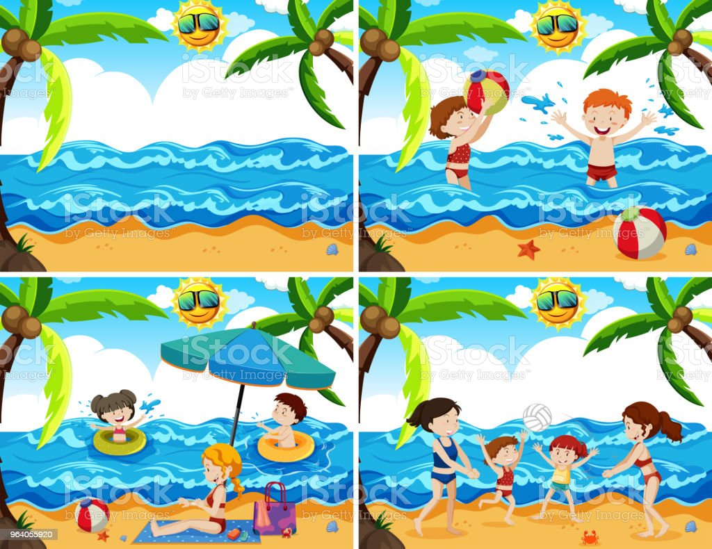 A Set of Family at the Beach - Royalty-free Adult stock vector