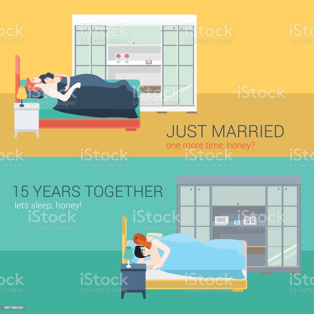 Satz Von Familie Paar Im Schlafzimmer Bett Schlafen Sex Liebe Romantik.  Flache Menschen Lebensstil Situation
