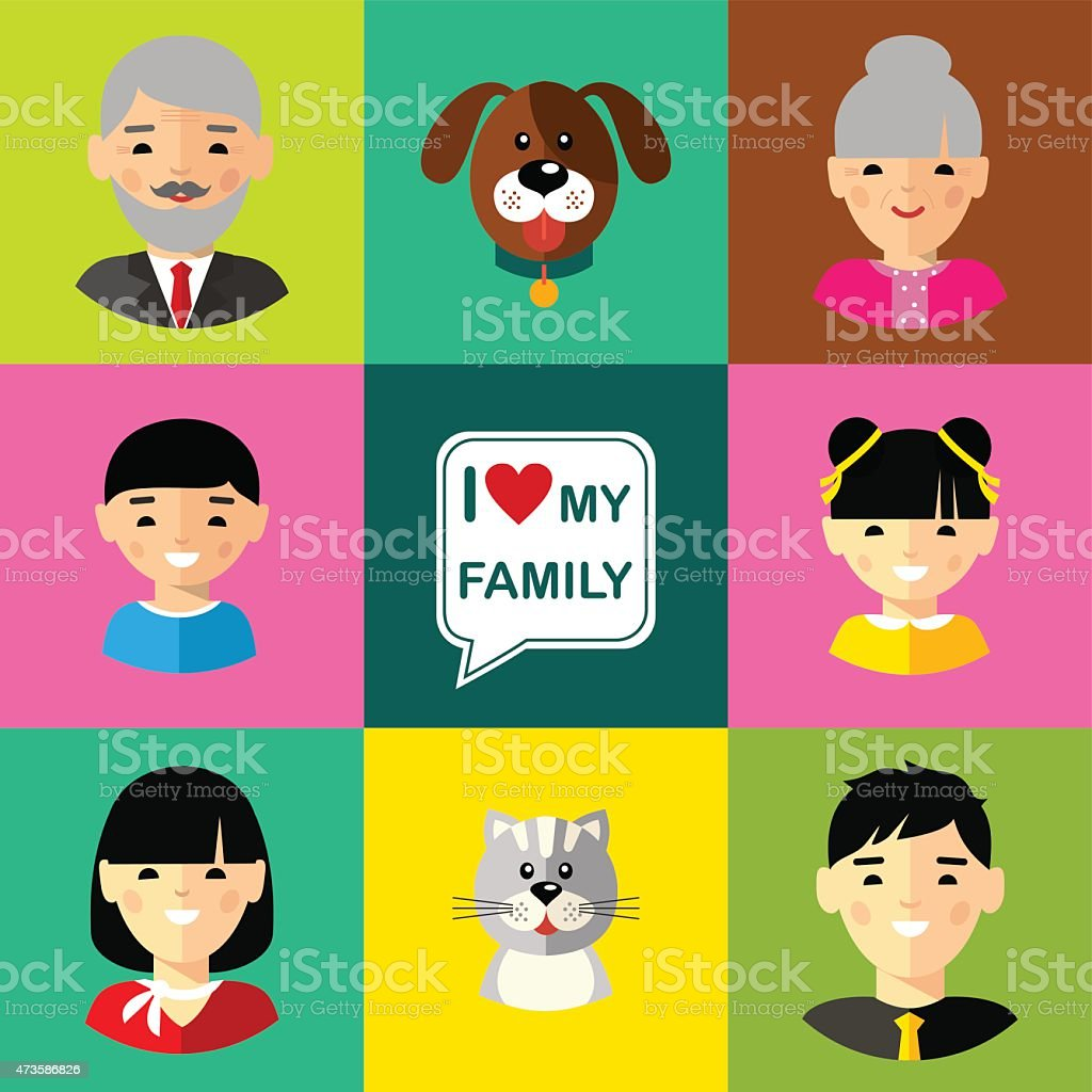 Set of  family  icons grandparents, parents, children, cat, dog vector art illustration
