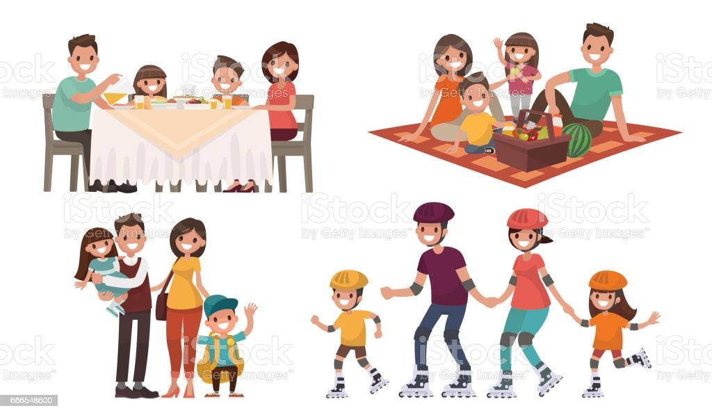 Set of family leisure. Lunch at home vector art illustration