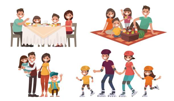set of family leisure. lunch at home - family stock illustrations, clip art, cartoons, & icons