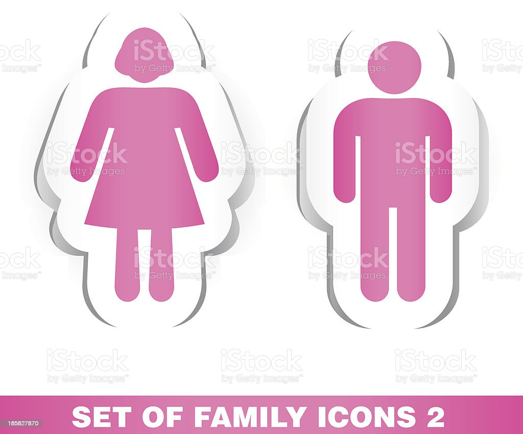 Set of Family Paper Icons 2. royalty-free stock vector art