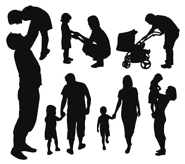 家族のシルエットです。 - 親子点のイラスト素材/クリップアート素材/マンガ素材/アイコン素材