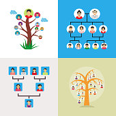 A Set of Family Tree Vector Illustrations