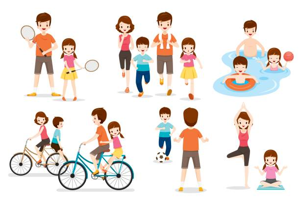 Set Of Family With Various Exercise And Sports Activities vector art illustration