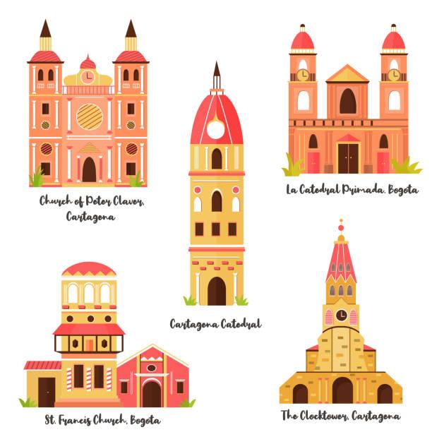 berühmter sehenswürdigkeiten von bogota, cartagena - cartagena stock-grafiken, -clipart, -cartoons und -symbole