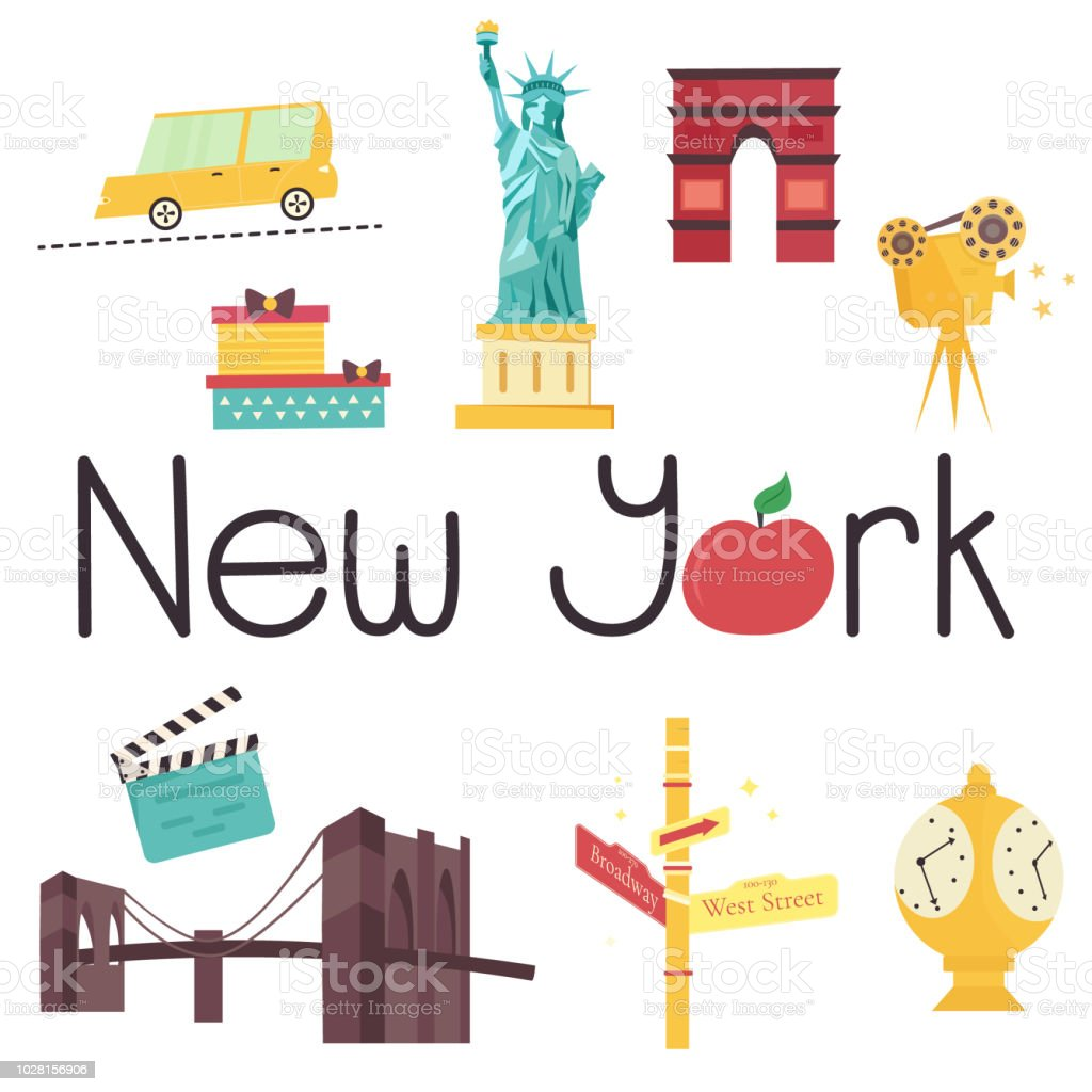 Set Of Famous New York Attractions And Symbols Stock Vector Art