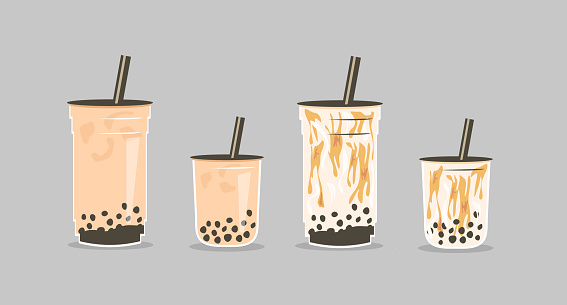 Set of famous Taiwanese beverage. Take away glass of brown sugar bubble tea and pearls milk tea in two sizes small, medium and large cup. Vector illustration for street asian drinks at night market.