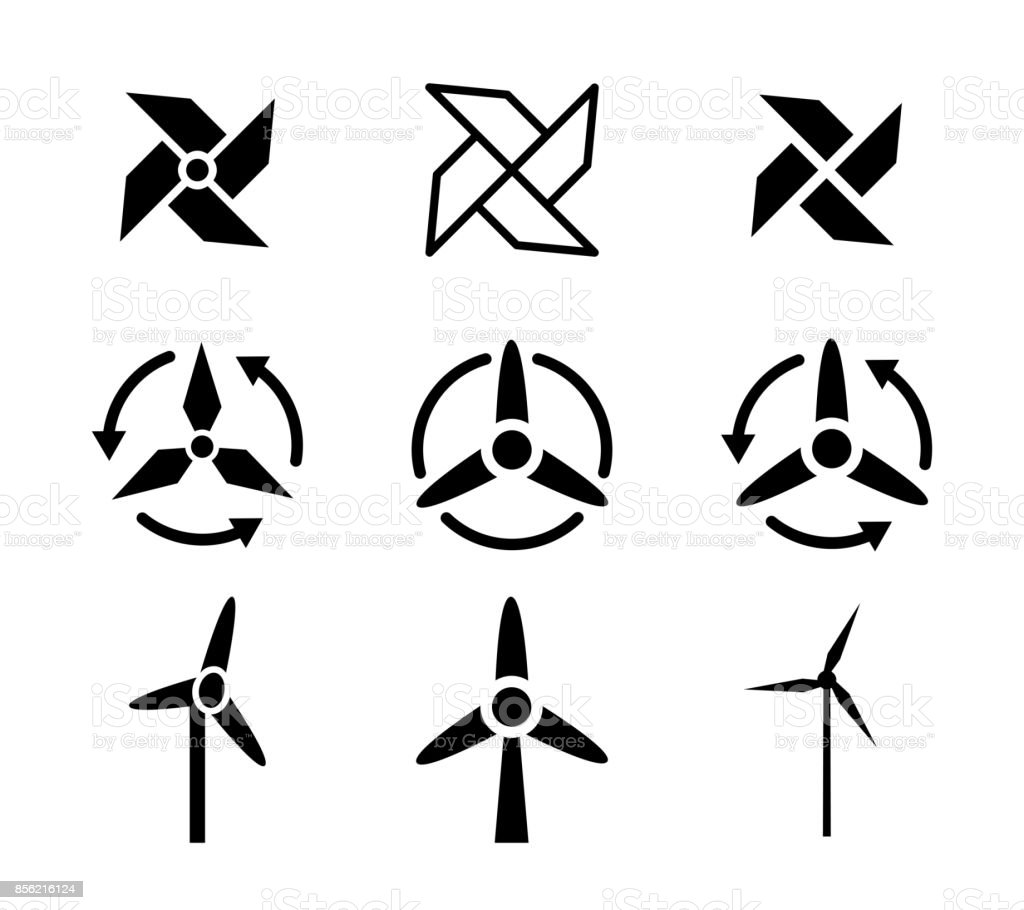 Set of fan and Wind energy icons, vector vector art illustration