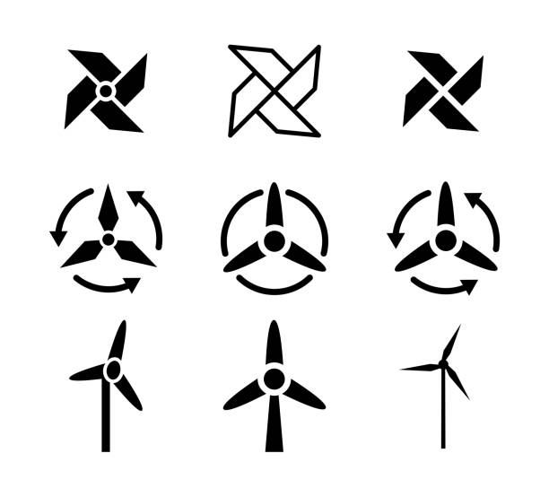 dizi fan ve rüzgar enerji simgeler, vektör - rüzgar değirmeni stock illustrations