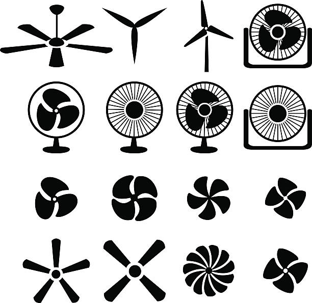 set of fans and propellers icons - pervane stock illustrations