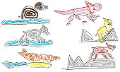 Set of fantastic creatures drawing child style coloured