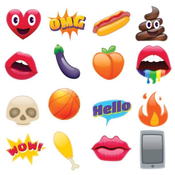 illustrazioni stock, clip art, cartoni animati e icone di tendenza di set of fantastic smiley emoticons emoji design set - melanzane