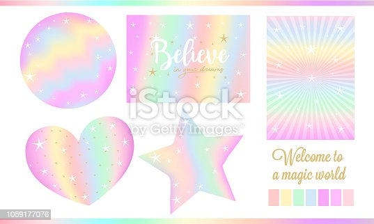 Set of fantasy card for little princess. Unicorn rainbow stickers in pastel colors ( pale yellow, light green, red, violet) with white stars, golden dust.