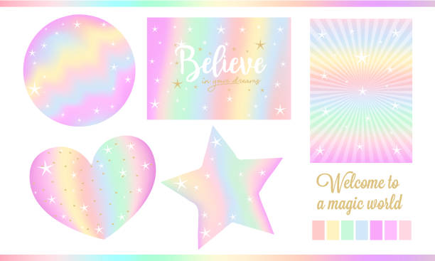 set of fantasy card for little princess. unicorn rainbow stickers in pastel colors ( pale yellow, light green, red, violet) with white stars, golden dust. - rainbow glitter background stock illustrations