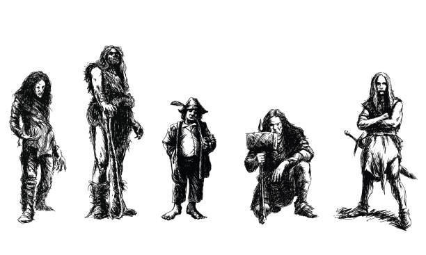 set of fantasy characters vector art illustration